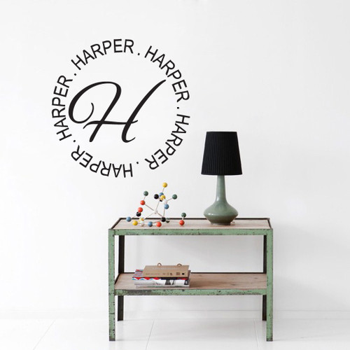Circle Name With Monogram Wall Decals and Stickers & Monogram Wall Decals | Sweetums Wall Decals