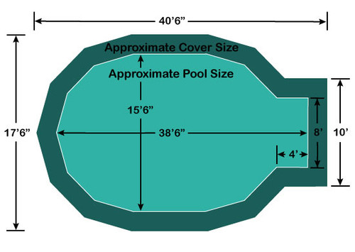"""15' 6"""" x 34' 6"""" Jewel with 4' x 8' Center End Step Loop-Loc II Super Mesh In-Ground Pool Safety Cover"""