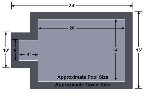 14' x 28' Rectangle with 4' x 8' Center End Step Loop-Loc II Gray Super Mesh In-Ground Pool Safety Cover