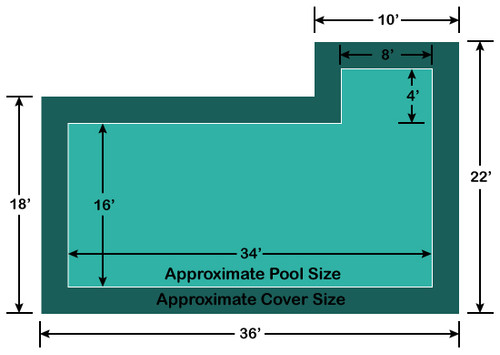 16' x 34' Rectangle with 4' x 8' Right Flush Step Loop-Loc II Super Mesh In-Ground Pool Safety Cover
