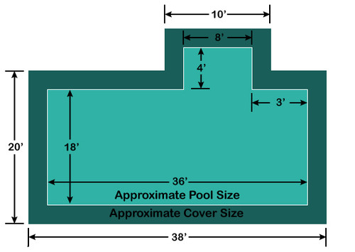 18' x 36' Rectangle with 4' x 8' right 3' Offset Step Loop-Loc II Super Mesh In-Ground Pool Safety Cover