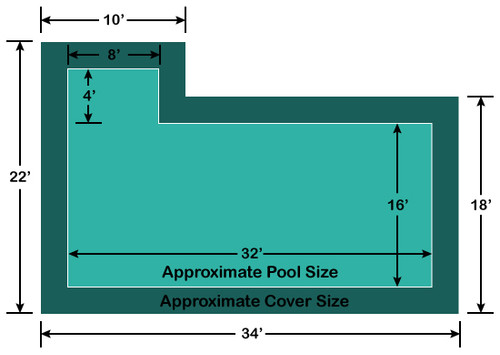 16' x 32' Rectangle with 4' x 8' left Flush Step Loop-Loc II Super Mesh In-Ground Pool Safety Cover