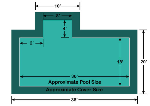 18' x 36' Rectangle with 4' x 8' Left 2' Offset Step Loop-Loc II Super Mesh In-Ground Pool Safety Cover
