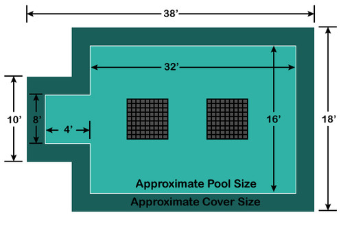 16' x 32' Rectangle with 4' x 8' Center End Step Ultra-Loc III Solid - Drain Panels In-Ground Pool Safety Cover