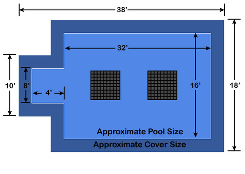 16' x 32' Rectangle with 4' x 8' Center End Step Ultra-Loc III Solid Blue- Drain Panels In-Ground Pool Safety Cover