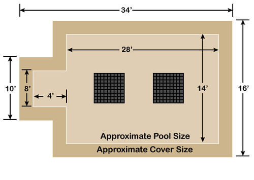 14' x 28' Rectangle with 4' x 8' Center End Step Ultra-Loc III Solid Tan- Drain Panels In-Ground Pool Safety Cover