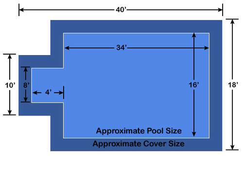 16' x 34' Rectangle with 4' x 8' Center End Step Ultra-Loc III Solid Blue In-Ground Pool Safety Cover