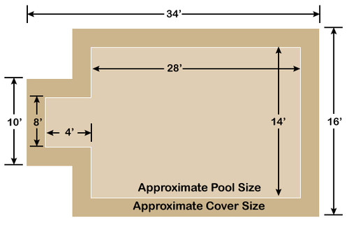 14' x 28' Rectangle with 4' x 8' Center End Step Ultra-Loc III Solid Tan In-Ground Pool Safety Cover