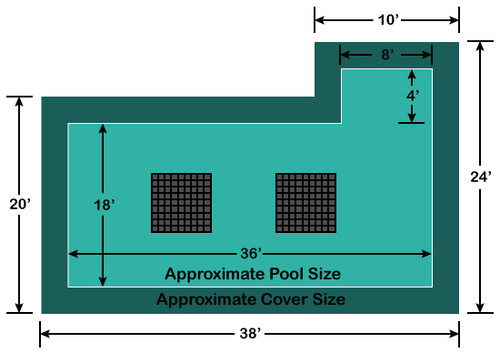 18' x 36' Rectangle with 4' x 8' Right Flush Step Ultra-Loc III Solid with Drains In-Ground Pool Safety Cover