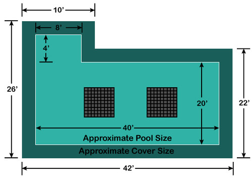 20' x 40' Rectangle with 4' x 8' Left Flush Step Ultra-Loc III Solid with Drains In-Ground Pool Safety Cover