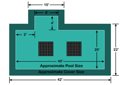 20' x 40' Rectangle with 4' x 8' Left 4' Offset Step Ultra-Loc III Solid with Drains In-Ground Pool Safety Cover