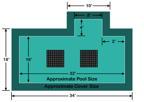 16' x 32' Rectangle with 4' x 8' Right 2' Offset Step Ultra-Loc III Solid with Drains In-Ground Pool Safety Cover