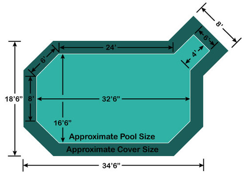 "16' 6"" x 32' 6"" Grecian with 4' x 6' Right Step Loop-Loc II Super Mesh In-Ground Pool Safety Cover"