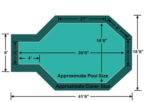 "16' 6"" x 35' 6"" Grecian with 4' x 6' Center End Step Loop-Loc II Super Mesh In-Ground Pool Safety Cover"