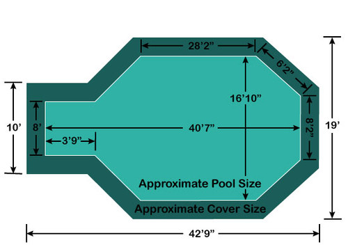 "16' 10"" x 36' 6"" Grecian with 3'9 x 8' Center End Step Loop-Loc II Super Mesh In-Ground Pool Safety Cover"