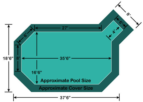 "16' 6"" x 35' 6"" Grecian with 4' x 6' Right Step Loop-Loc II Super Mesh In-Ground Pool Safety Cover"