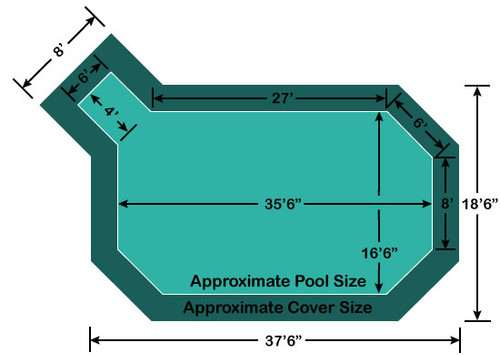 "16' 6"" x 35' 6"" Grecian with 4' x 6' Left Step Loop-Loc II Super Mesh In-Ground Pool Safety Cover"