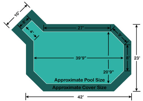 "20' 6"" x 39' 9"" Grecian with 4' x 8' Left Step Loop-Loc II Super Mesh In-Ground Pool Safety Cover"