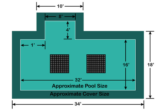 16' x 32' Rectangle with 4' x 8' Left 1' Offset Step Ultra-Loc III Solid with Drains In-Ground Pool Safety Cover