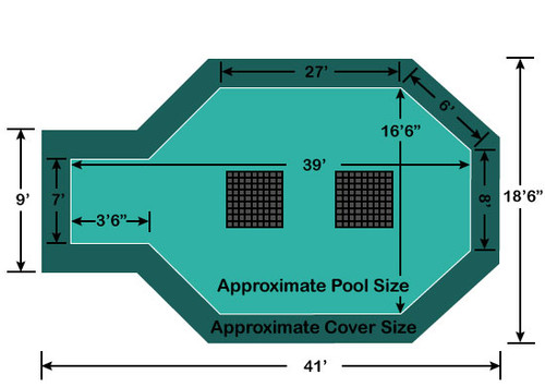 """16' 6"""" x 35' 6"""" with 3' 6"""" x 7' Center End Step Ultra-Loc III Solid - Drains In-Ground Pool Safety Cover"""