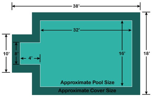 16' x 32' Rectangle with 4' x 8' Center End Step Ultra-Loc III Solid Green In-Ground Pool Safety Cover