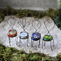 Upcycled Bottle Cap Chairs (Set/4)
