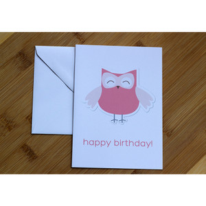 Happy Birthday Owl Pink