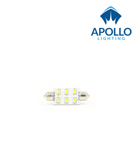 """Our 37mm festoon LED bulb features 6 SMD LEDs and puts out the equivalent light to a 10W halogen. It is a direct replacement for 37mm (1-7/16"""") festoons found in overhead dome lights, courtesy lights, and some flush stern lights. It will replace 38mm and 39mm type SV8.5 lamps as well."""