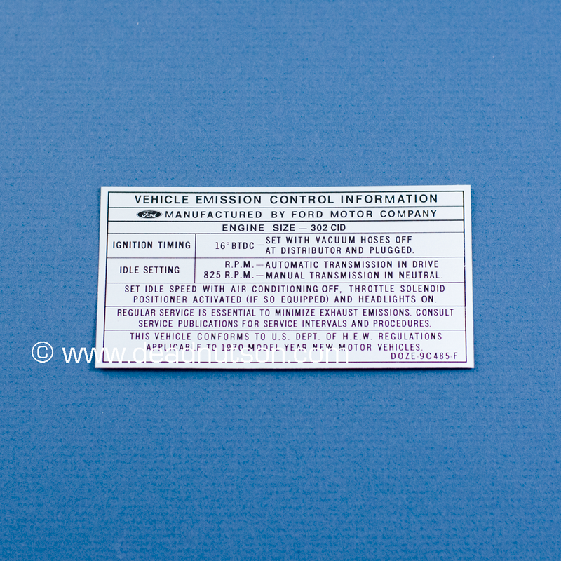 1970 BOSS 302 Engine Emissions Decal (Late Production)