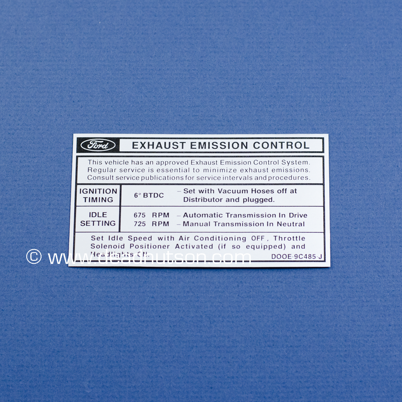 1970 Mustang 428 S/CJ Engine Emissions Decal