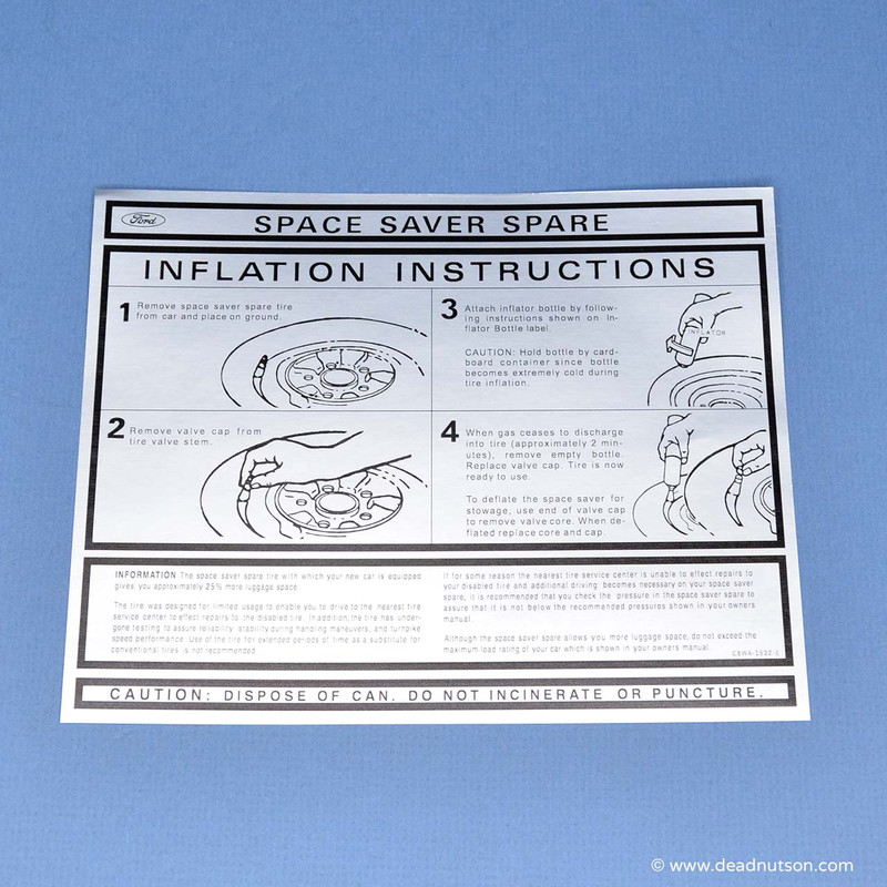 Space Saver Spare Instructions Decal