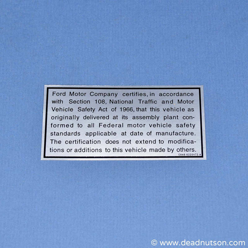 Vehicle Safety Act Decal
