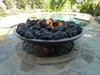 "60"" Concrete Barbados fire bowl with lava rock"