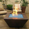 40 inch Corinthian lit fire pit with a copper rubbed finish and tropical blue fire glass