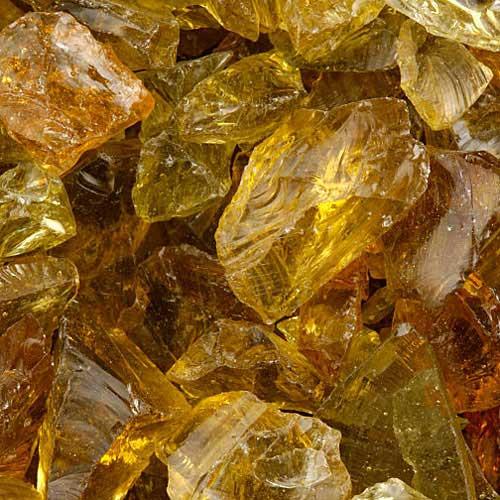 Amber fire glass