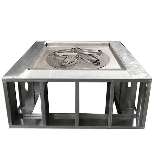 "60"" square manual fire pit frame with wide decking"