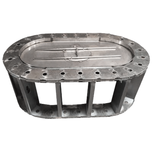 """48"""" oval stainless steel fire pit frame with manual burner"""