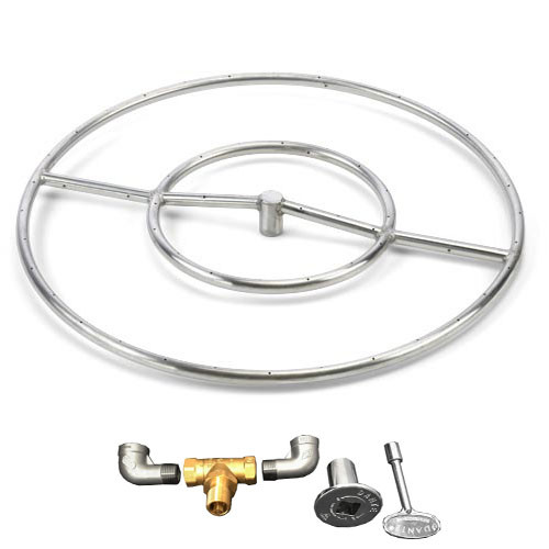 "18"" stainless steel round gas fire ring kit"