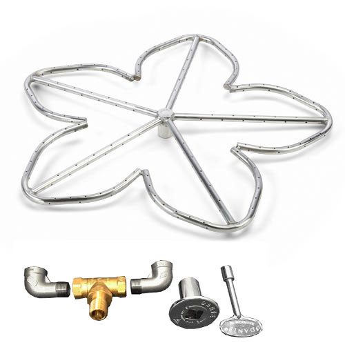 "30"" high capacity cluster burner kit which includes 3/4"" valve, key, decorative valve cover, 3/4"" gas pipe elbows."