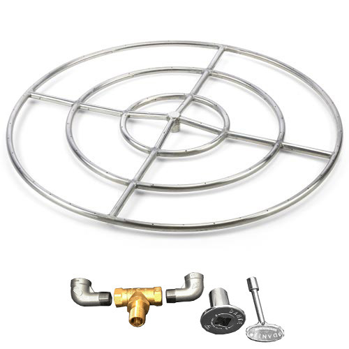 "36"" stainless steel high capacity gas fire ring"