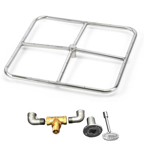 "12"" square burner kit which includes fire ring, valve, key, decorative valve cover, 1/2"" gas pipe nipples and elbows."