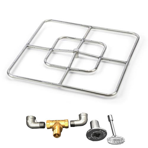"24"" square burner kit which includes fire ring, valve, key, decorative valve cover, 1/2"" gas pipe nipples and elbows."
