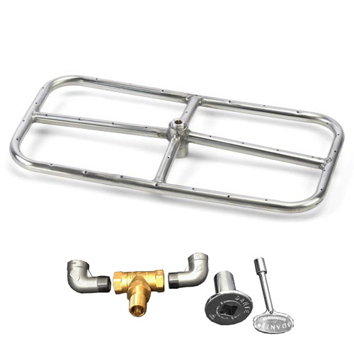 "24"" x 12"" Burner kit with fire ring, valve, key, decorative valve cover, 1/2"" gas pipe nipples and elbows"
