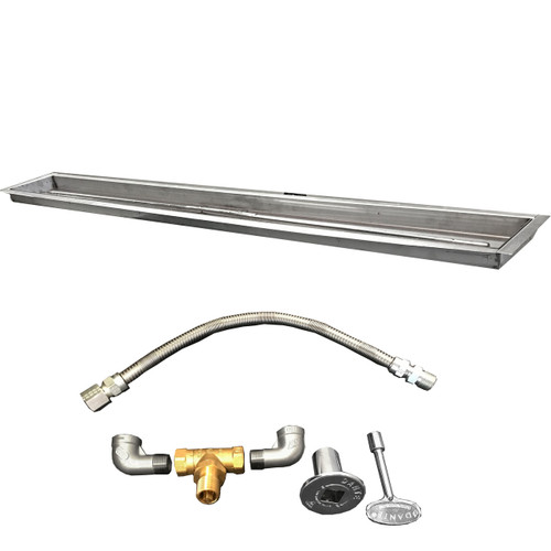 """120"""" trough kit with Pan, burner, flexible gas line, valve, key, decorative valve cover, gas pipe nipples and elbows."""