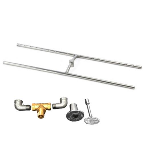 "48"" x 10"" H-Burner kit for manual match lit fire pit installation"