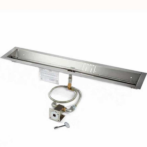 "36"" manual match lit trough burner and pan"