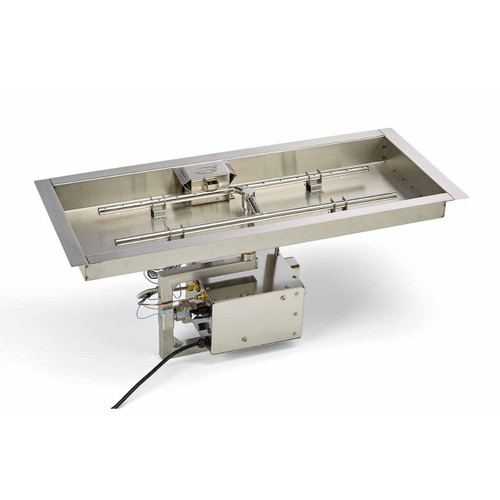 "Stainless steel electronic ignition burner system with 90"" x 16"" pan and 84"" x 10"" burner."