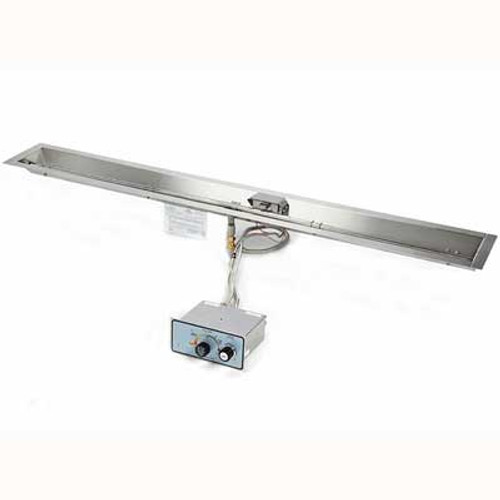 """72"""" stainless steel manual spark ignition burner and pan for linear fire trough"""