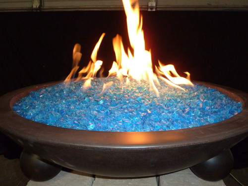 ... Tropical blue fire glass in lit fire pit ... - Tropical Blue Fire Glass Flame Creation