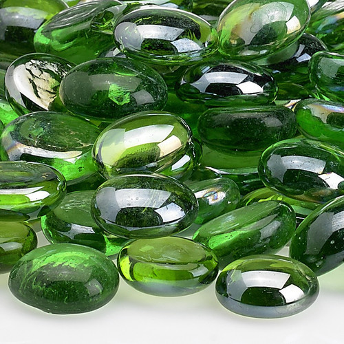 Emerald green fire beads for a fire bowl